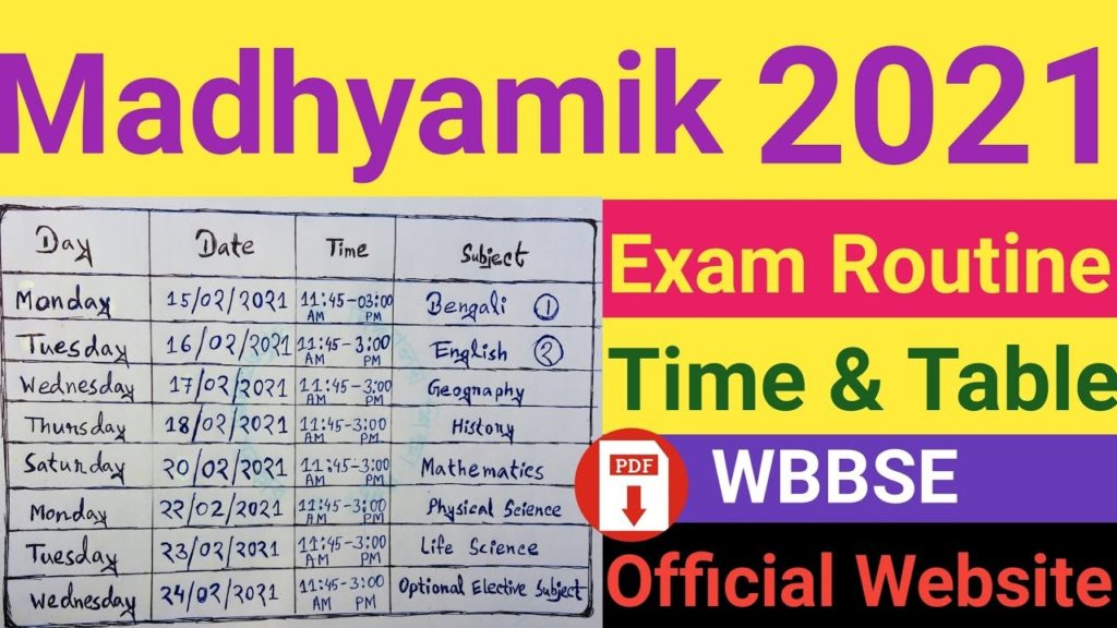 WB 12th HS Routine 2021 Time Table West Bengal SE Programme 2021 WB 12th Date Sheet 2021 at wbbse.org